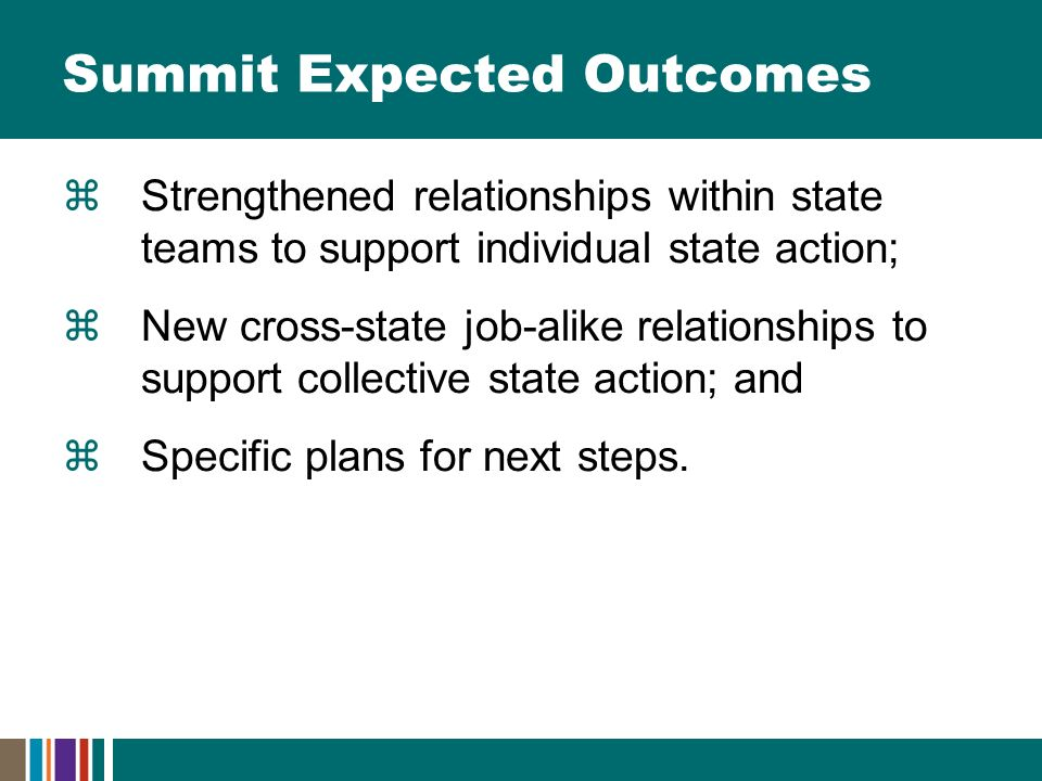 Summit Expected Outcomes  Strengthened relationships within state teams to support individual state action;  New cross-state job-alike relationships to support collective state action; and  Specific plans for next steps.