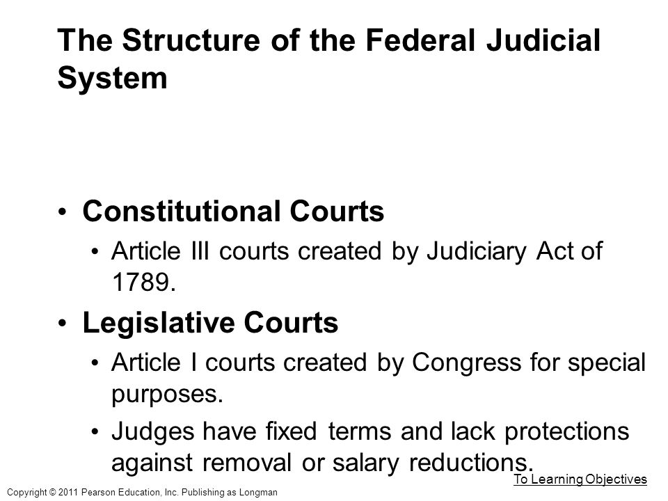 The Structure of the Federal Judicial System Constitutional Courts Article III courts created by Judiciary Act of 1789.