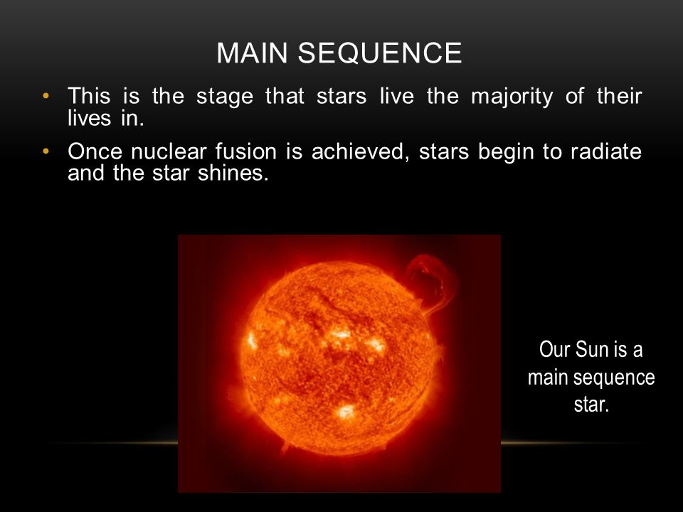 MAIN SEQUENCE This is the stage that stars live the majority of their lives in.