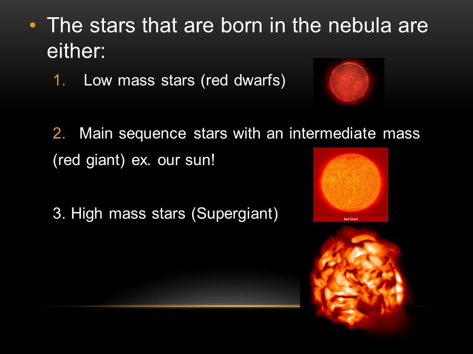 The stars that are born in the nebula are either: 1.