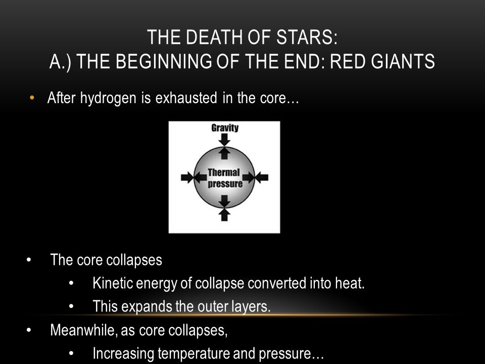 THE DEATH OF STARS: A.) THE BEGINNING OF THE END: RED GIANTS After hydrogen is exhausted in the core… The core collapses Kinetic energy of collapse converted into heat.