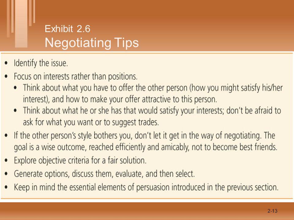 Exhibit 2.6 Negotiating Tips 2-13
