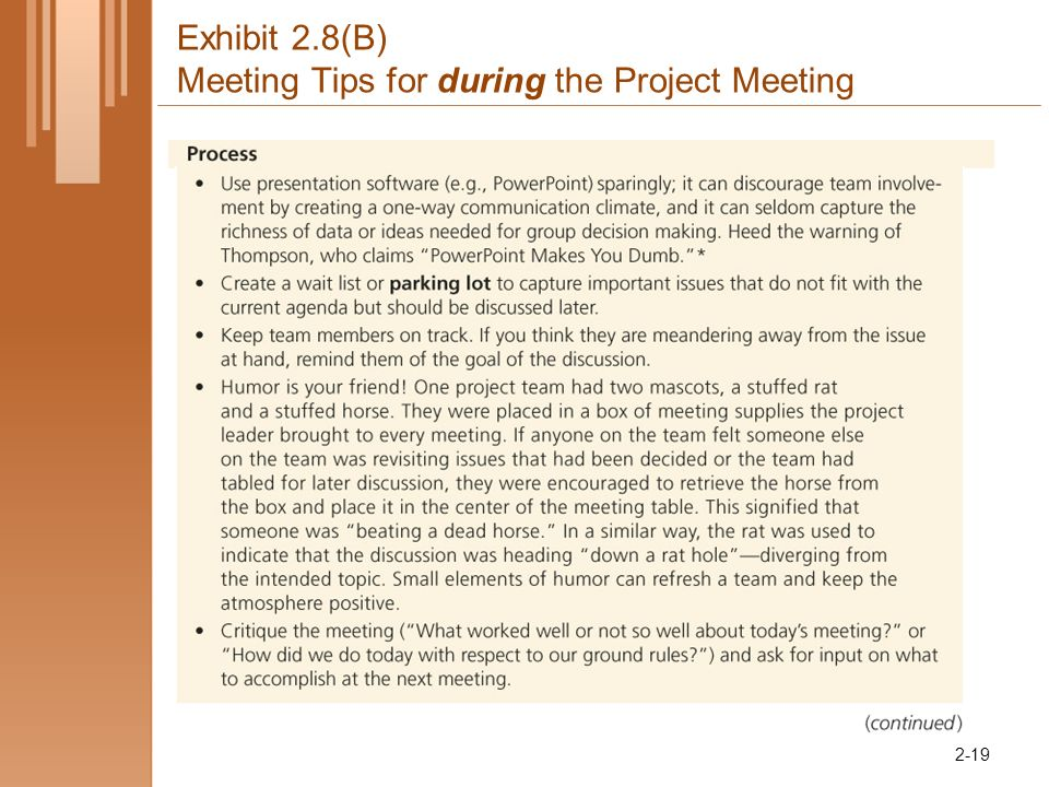 Exhibit 2.8(B) Meeting Tips for during the Project Meeting 2-19