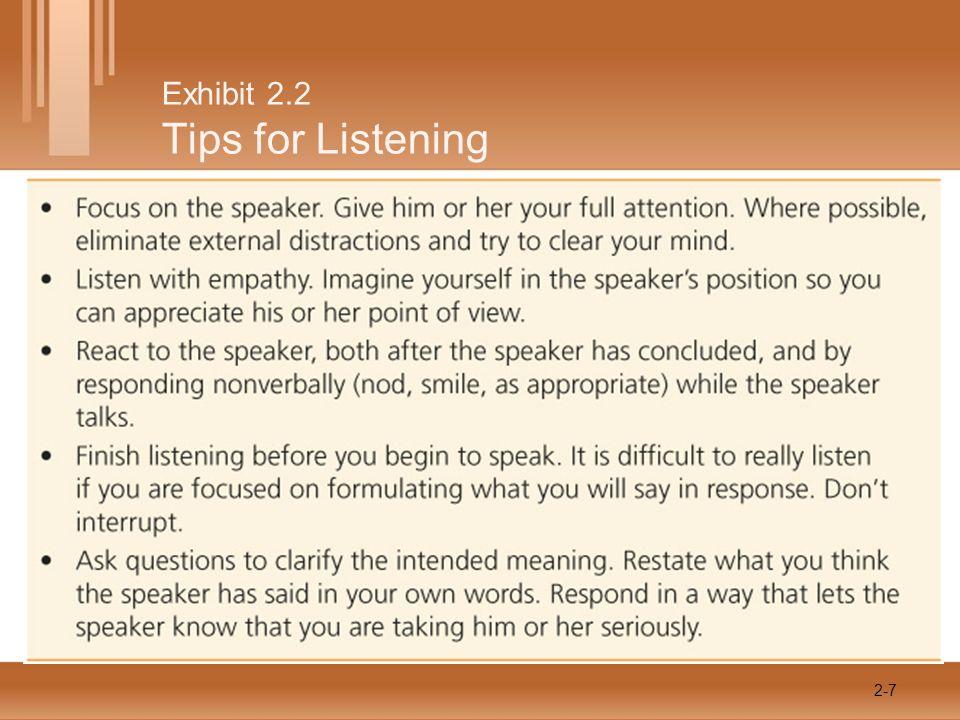 Exhibit 2.2 Tips for Listening 2-7