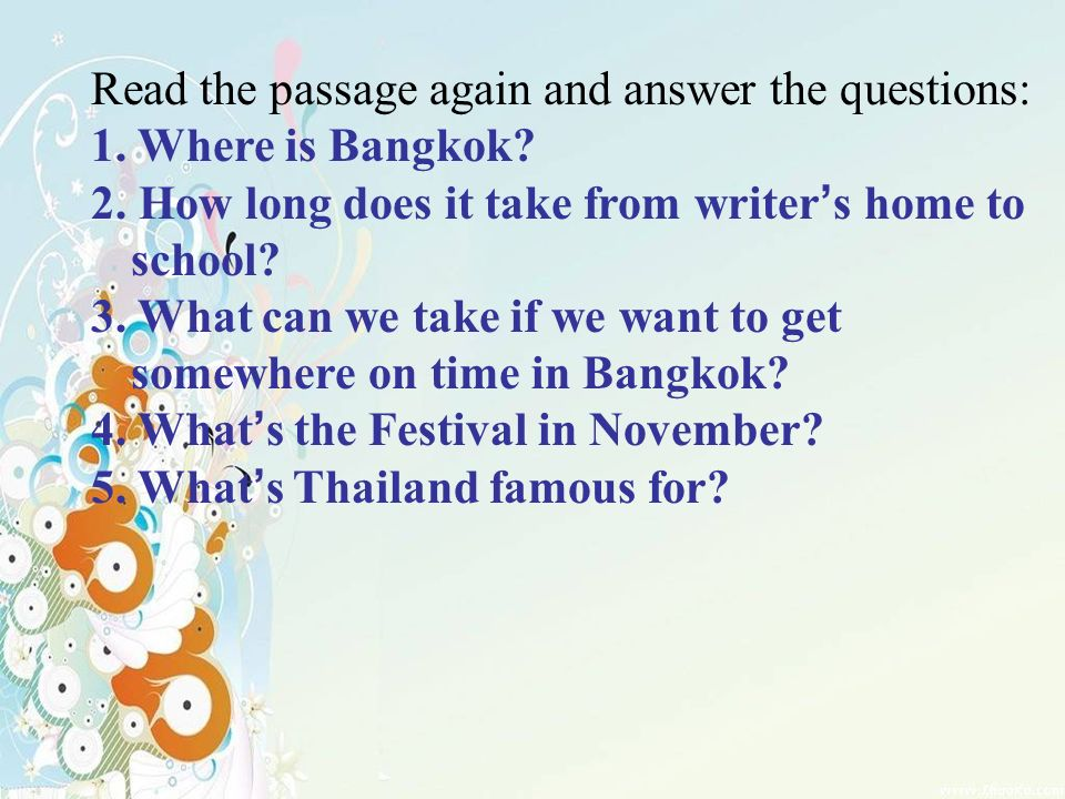 Designed By Lucky Angel TaskListening To A Passage The - Where is bangkok