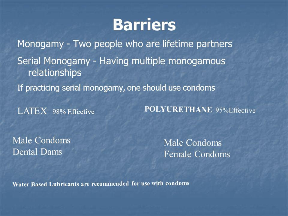 Monogamy - Two people who are lifetime partners Serial Monogamy - Having multiple monogamous relationships If practicing serial monogamy, one should u