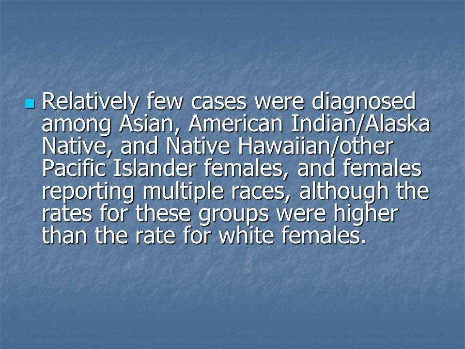 Relatively few cases were diagnosed among Asian, American Indian/Alaska Native, and Native Hawaiian/other Pacific Islander females, and females report