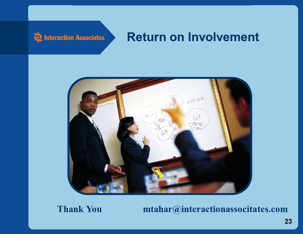 23 Return on Involvement Thank You mtahar@interactionassocitates.com
