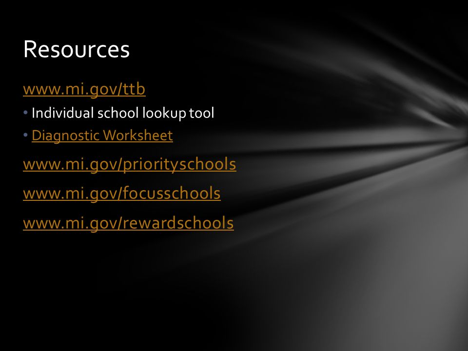 Individual school lookup tool Diagnostic Worksheet Resources