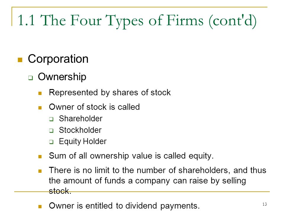 The Four Types of Firms (cont d) Corporation  Ownership Represented by shares of stock Owner of stock is called  Shareholder  Stockholder  Equity Holder Sum of all ownership value is called equity.