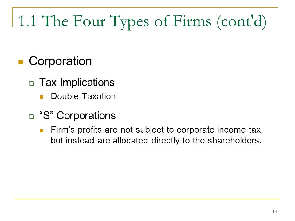 The Four Types of Firms (cont d) Corporation  Tax Implications Double Taxation  S Corporations Firm's profits are not subject to corporate income tax, but instead are allocated directly to the shareholders.