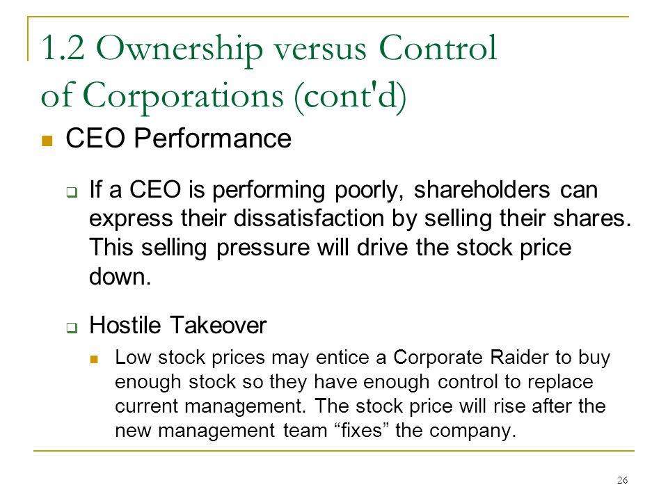 Ownership versus Control of Corporations (cont d) CEO Performance  If a CEO is performing poorly, shareholders can express their dissatisfaction by selling their shares.