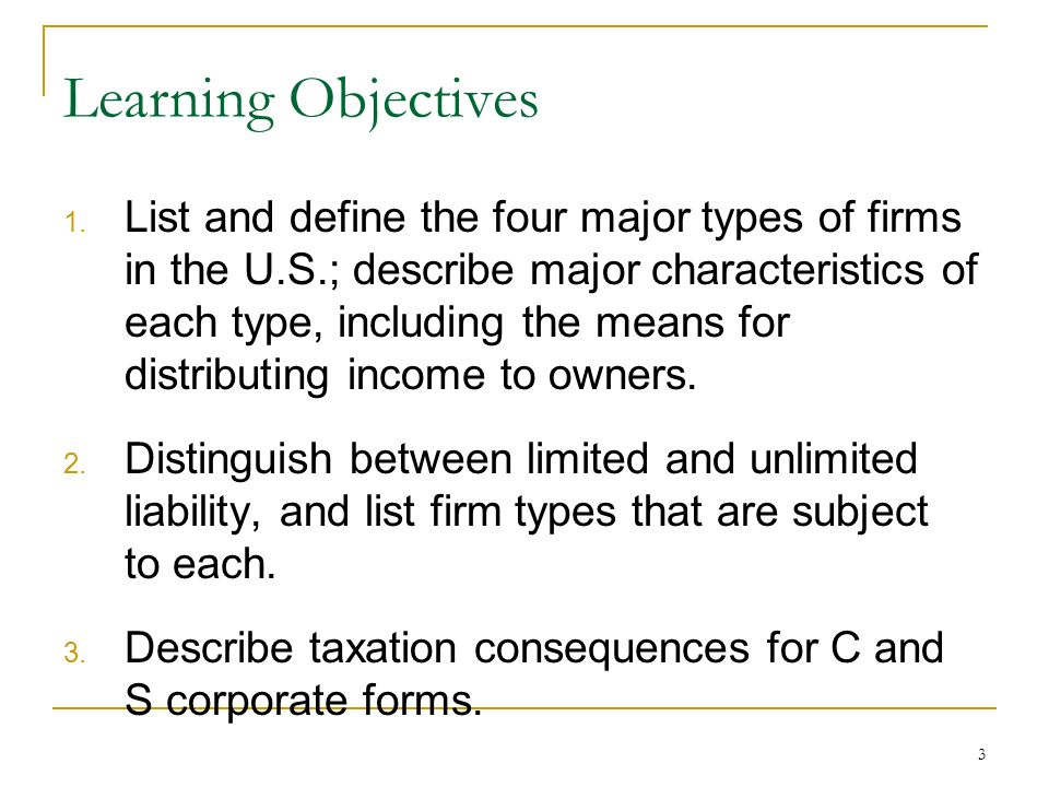 Chapter 1 The Corporation. 2 Chapter Outline 1.1 The Four Types of ...