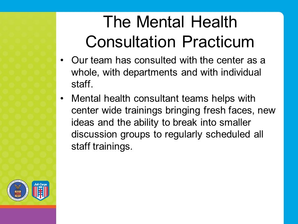 The Mental Health Consultation Practicum Our team has consulted with the center as a whole, with departments and with individual staff.