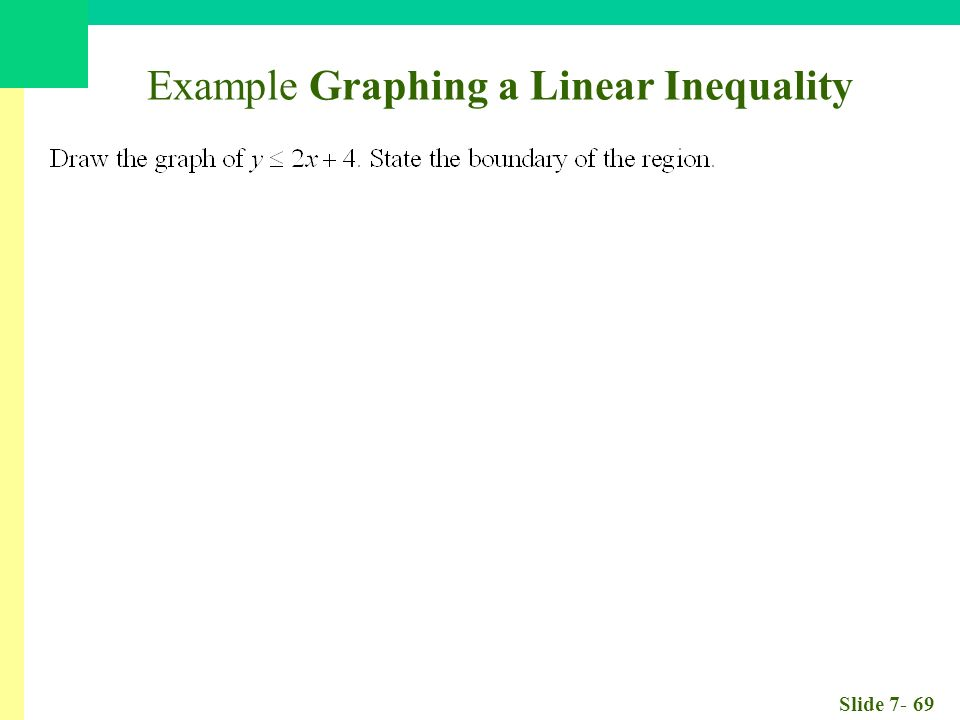 Slide Example Graphing a Linear Inequality