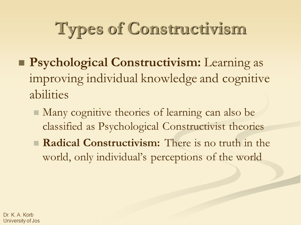 Types of Constructivism Psychological Constructivism: Learning as improving individual knowledge and cognitive abilities Many cognitive theories of learning can also be classified as Psychological Constructivist theories Radical Constructivism: There is no truth in the world, only individual's perceptions of the world Dr.
