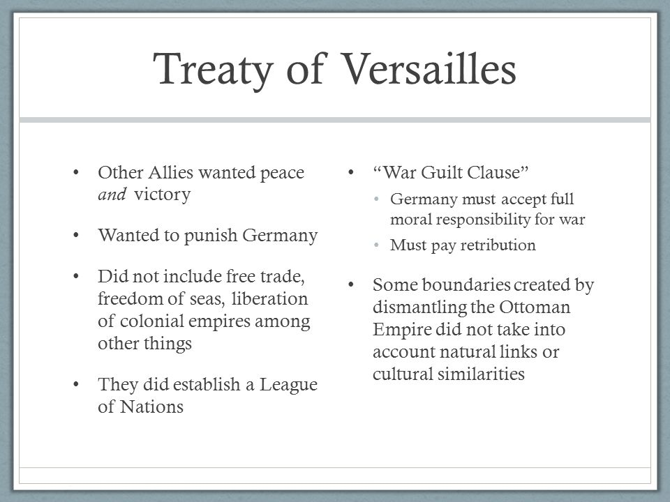 did treaty versailles punish germany