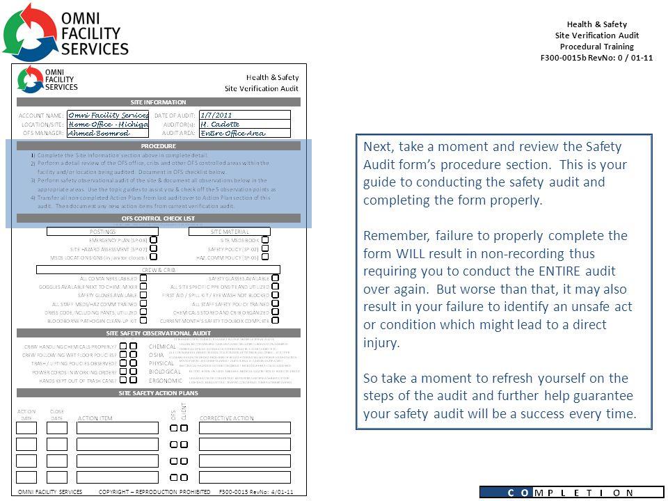 Health & Safety Site Verification Audit Procedural Training F b ...