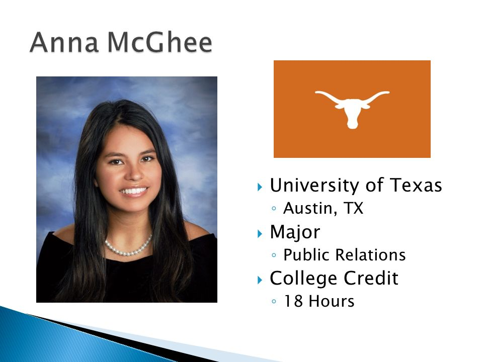  University of Texas ◦ Austin, TX  Major ◦ Public Relations  College Credit ◦ 18 Hours