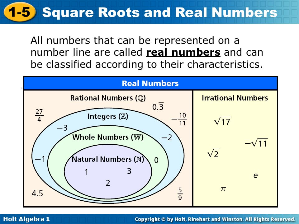 Holt Algebra Square Roots and Real Numbers All numbers that can be represented on a number line are called real numbers and can be classified according to their characteristics.