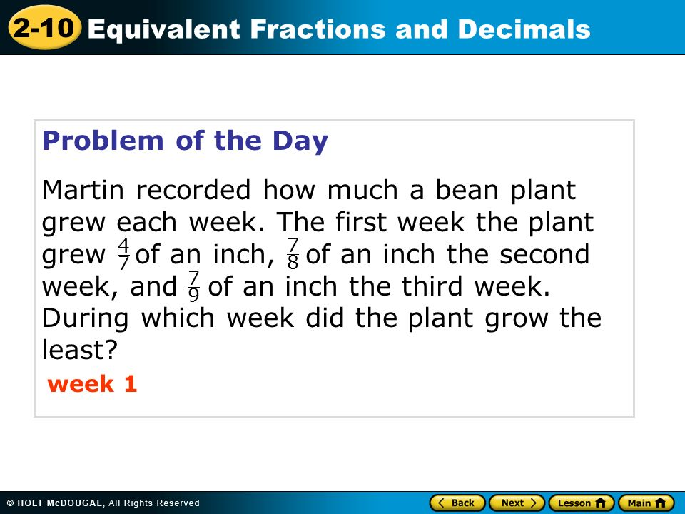 math worksheet : 2 10 equivalent fractions and decimals warm up warm up lesson  : Decimal Of The Day Worksheet