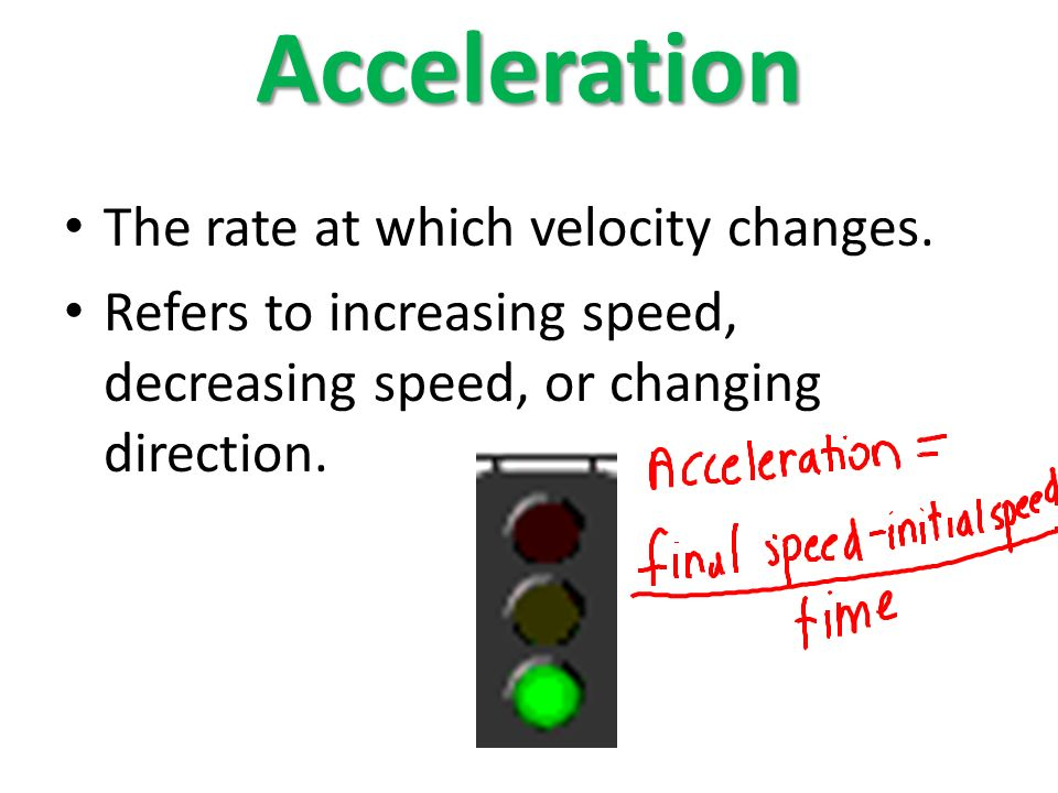 Acceleration The rate at which velocity changes.