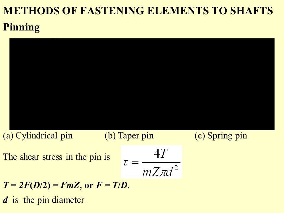METHODS OF FASTENING ELEMENTS TO SHAFTS Pinning (a) Cylindrical pin (b) Taper pin (c) Spring pin The shear stress in the pin is T = 2F(D/2) = FmZ, or F = T/D.