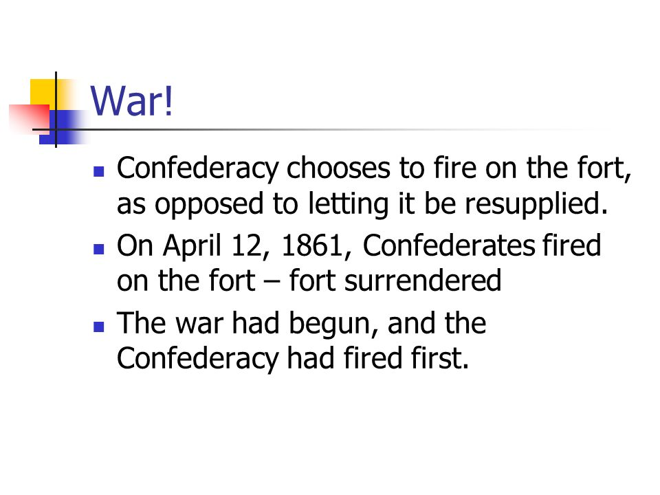 War. Confederacy chooses to fire on the fort, as opposed to letting it be resupplied.
