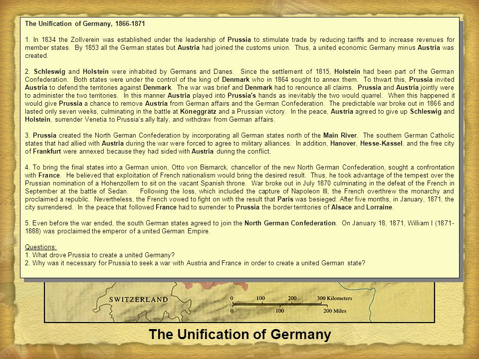 The Unification of Germany The Unification of Germany, 1866-1871 1.