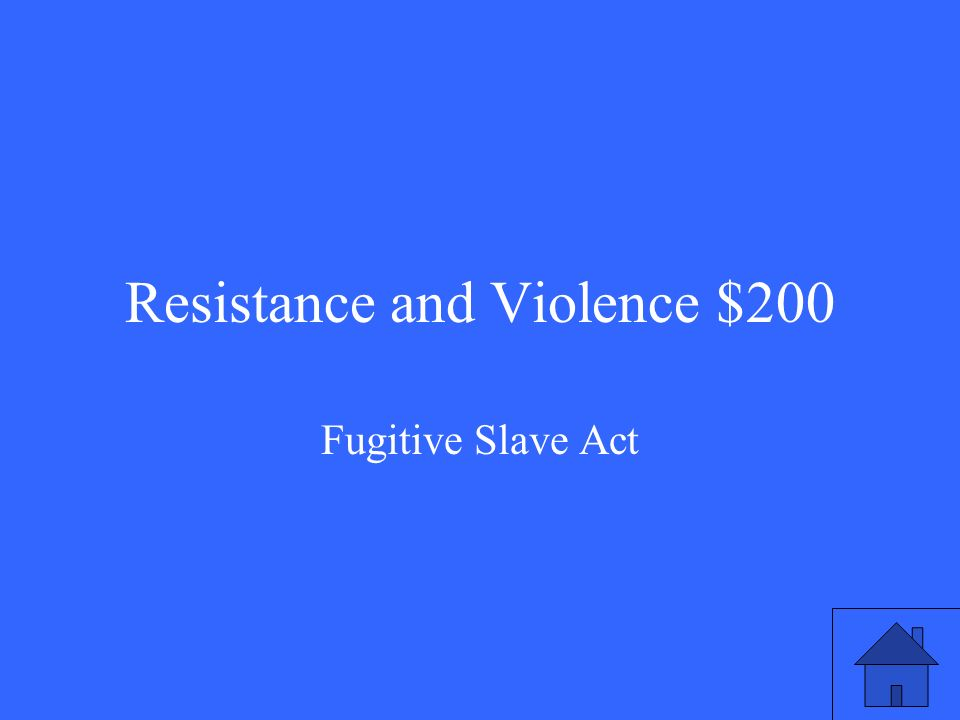 Resistance and Violence $200 Fugitive Slave Act