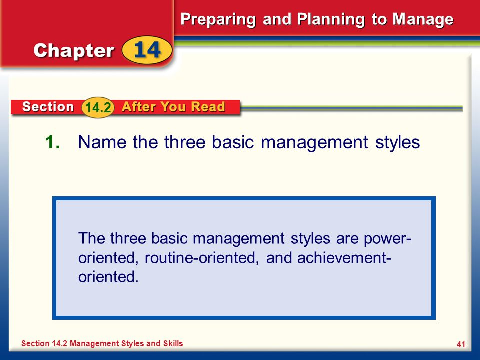 Preparing and Planning to Manage 41 1. Name the three basic management styles Section 14.2 Management Styles and Skills The three basic management sty