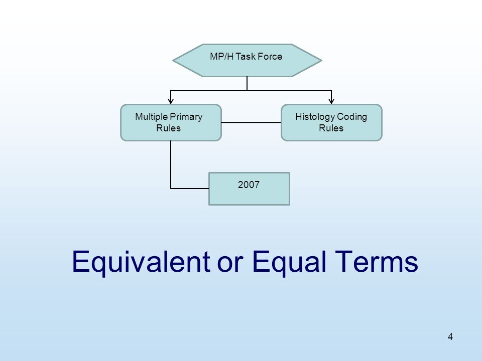 4 Equivalent or Equal Terms MP/H Task Force Multiple Primary Rules Histology Coding Rules 2007