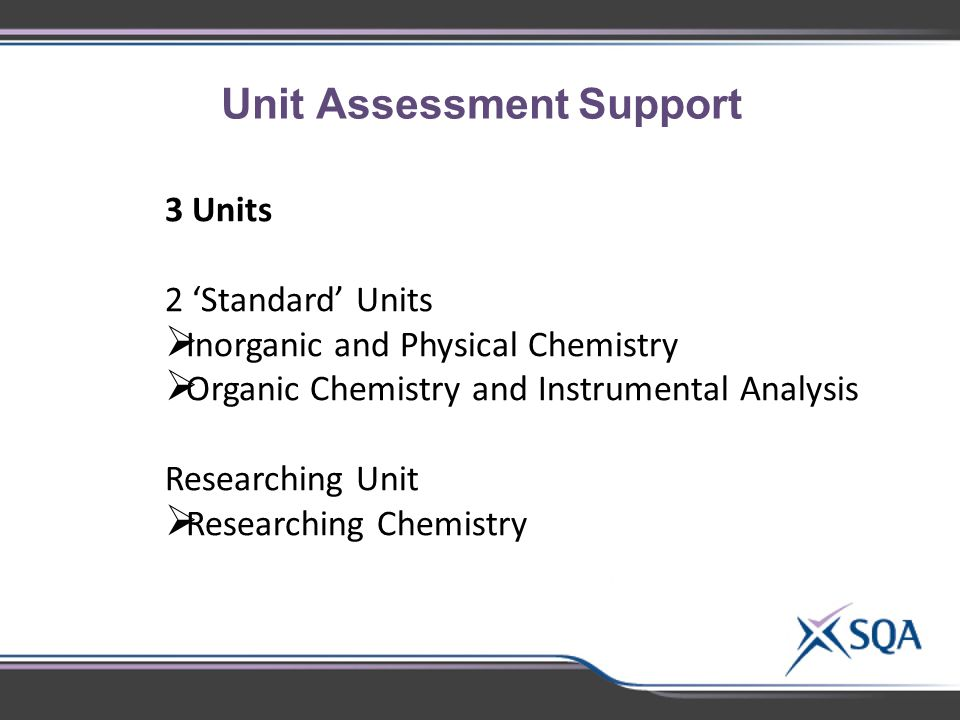 Unit Assessment Support 3 Units 2 'Standard' Units  Inorganic and Physical Chemistry  Organic Chemistry and Instrumental Analysis Researching Unit  Researching Chemistry