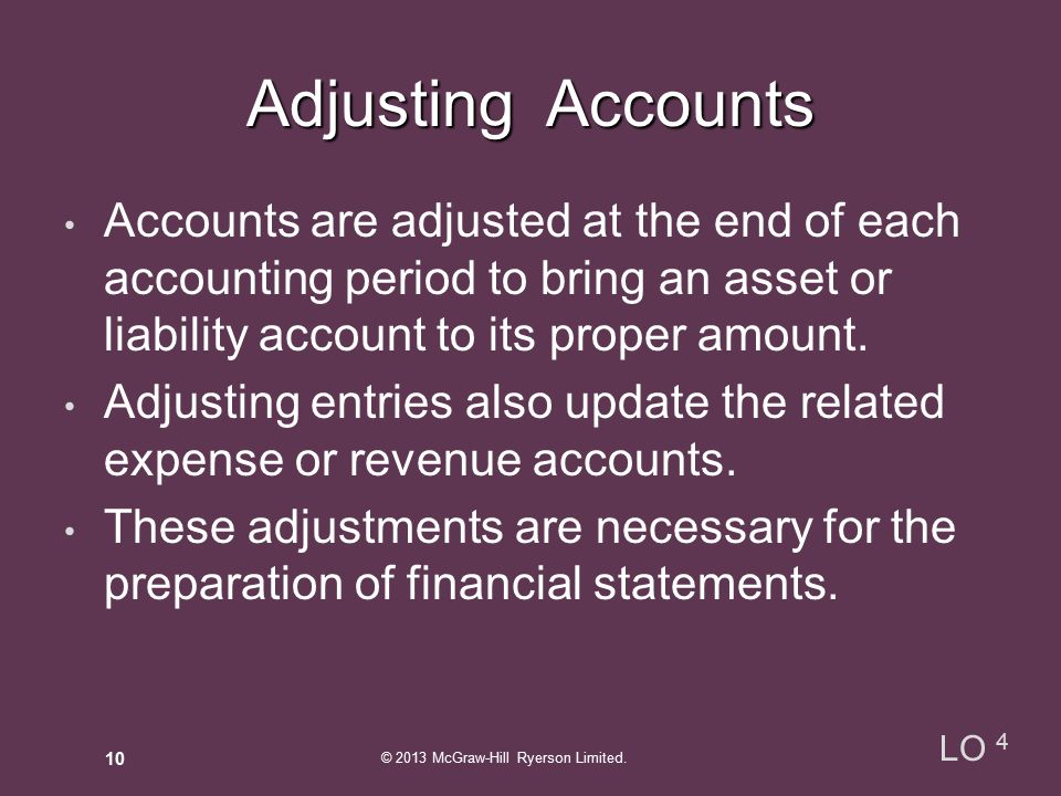 Adjusting Accounts Accounts are adjusted at the end of each accounting period to bring an asset or liability account to its proper amount.