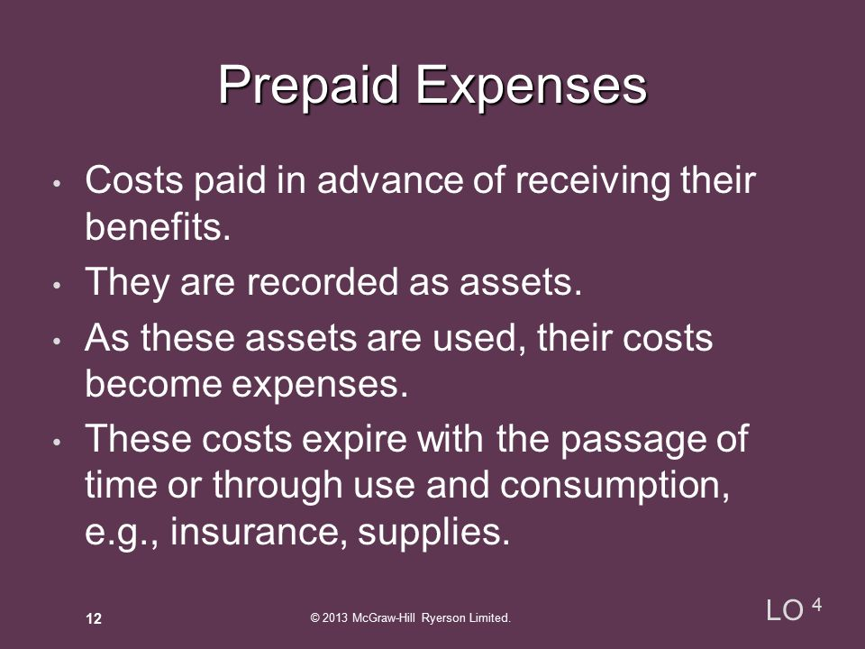 Costs paid in advance of receiving their benefits.