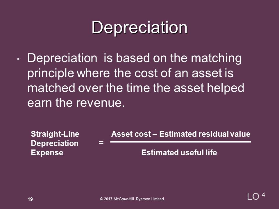 Depreciation is based on the matching principle where the cost of an asset is matched over the time the asset helped earn the revenue.