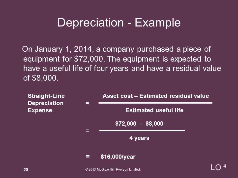 Depreciation - Example On January 1, 2014, a company purchased a piece of equipment for $72,000.