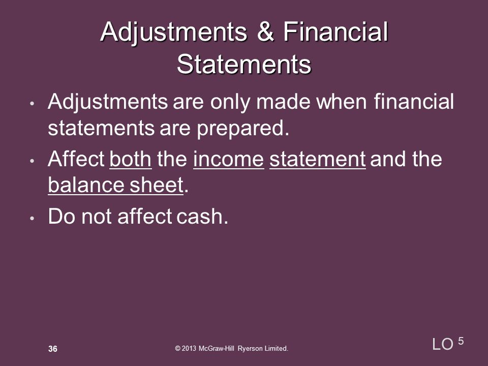 Adjustments are only made when financial statements are prepared.