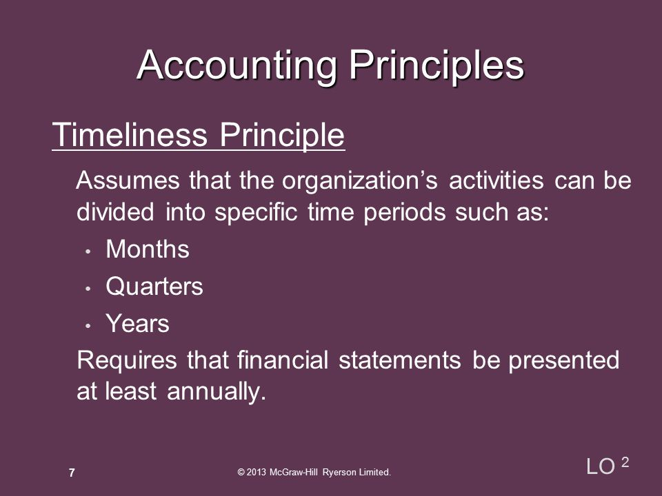 Timeliness Principle Assumes that the organization's activities can be divided into specific time periods such as: Months Quarters Years Requires that financial statements be presented at least annually.