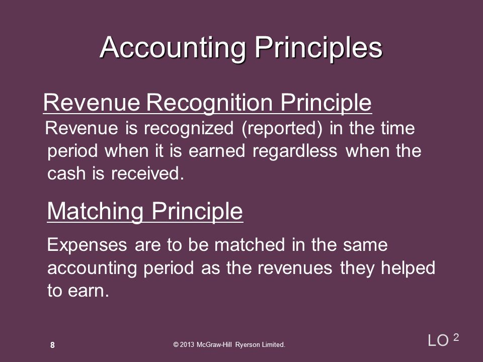 Revenue Recognition Principle Revenue is recognized (reported) in the time period when it is earned regardless when the cash is received.