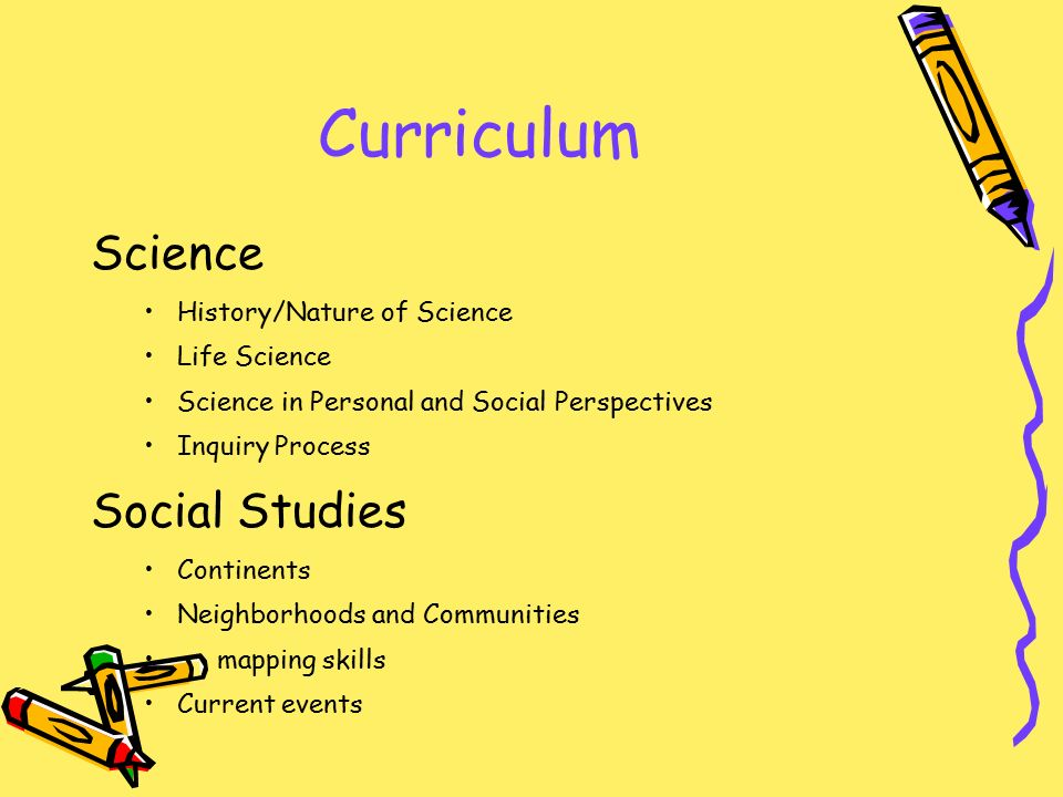 Curriculum Science History/Nature of Science Life Science Science in Personal and Social Perspectives Inquiry Process Social Studies Continents Neighborhoods and Communities mapping skills Current events