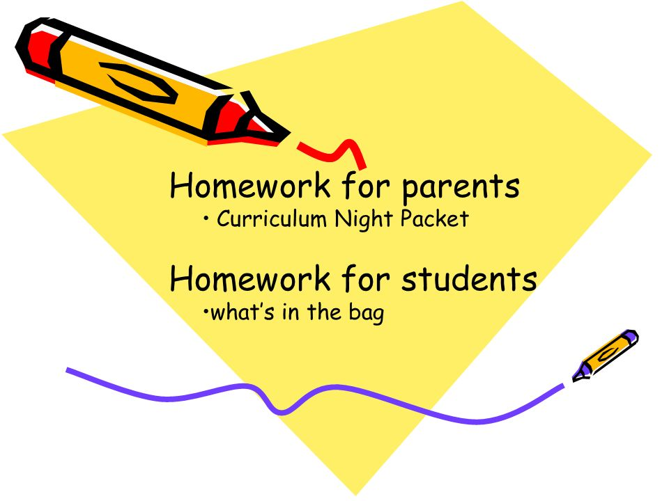 Homework for parents Curriculum Night Packet Homework for students what's in the bag