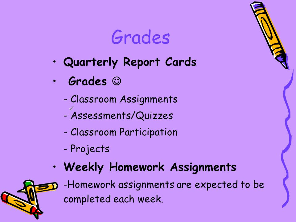 Grades Quarterly Report Cards Grades - Classroom Assignments - Assessments/Quizzes - Classroom Participation - Projects Weekly Homework Assignments -Homework assignments are expected to be completed each week.