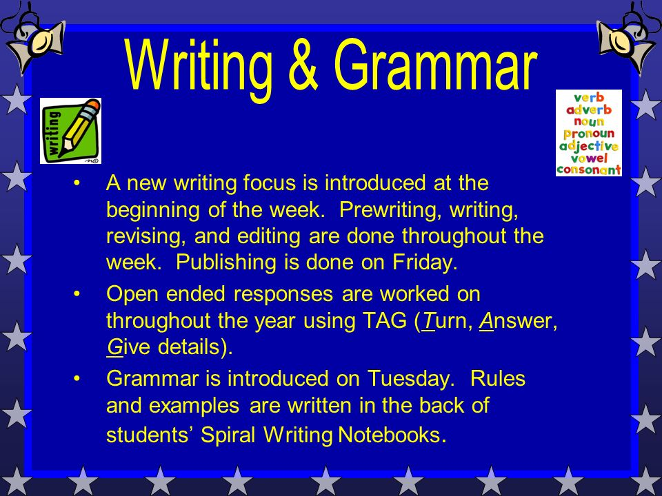 A new writing focus is introduced at the beginning of the week.
