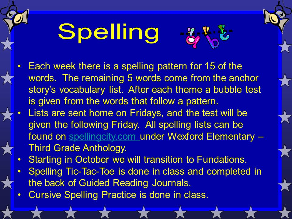 Each week there is a spelling pattern for 15 of the words.