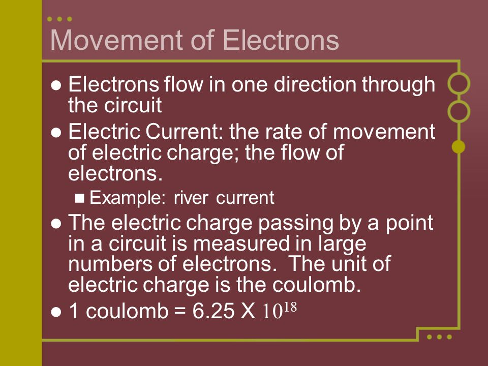 Movement of Electrons Electrons flow in one direction through the circuit Electric Current: the rate of movement of electric charge; the flow of electrons.
