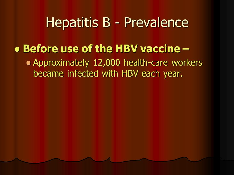 Hepatitis B - Prevalence Before use of the HBV vaccine – Before use of the HBV vaccine – Approximately 12,000 health-care workers became infected with HBV each year.