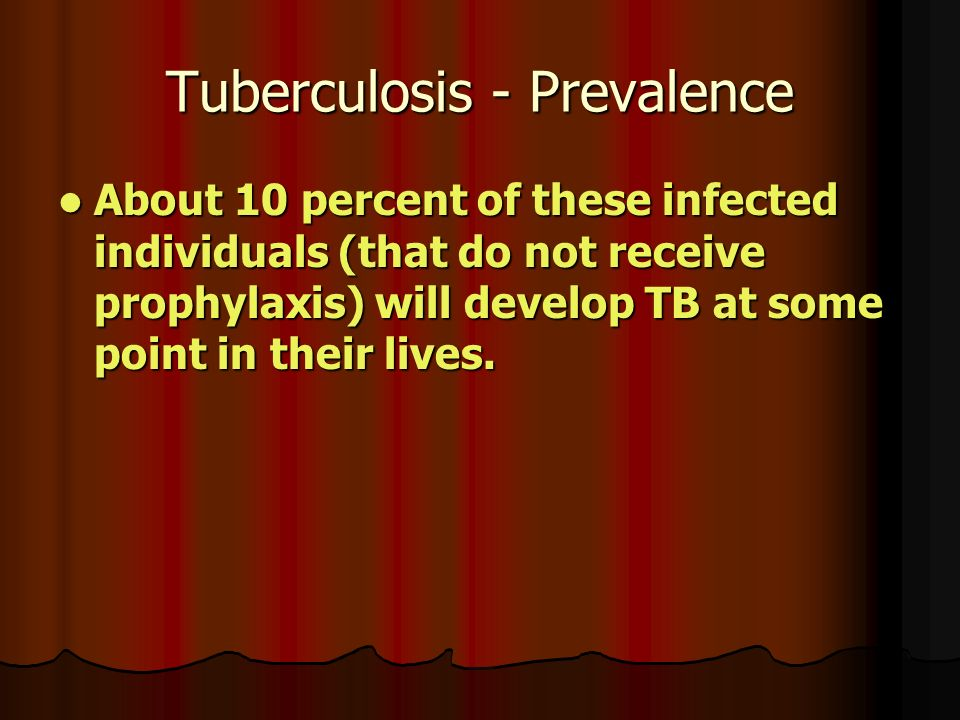 Tuberculosis - Prevalence About 10 percent of these infected individuals (that do not receive prophylaxis) will develop TB at some point in their lives.