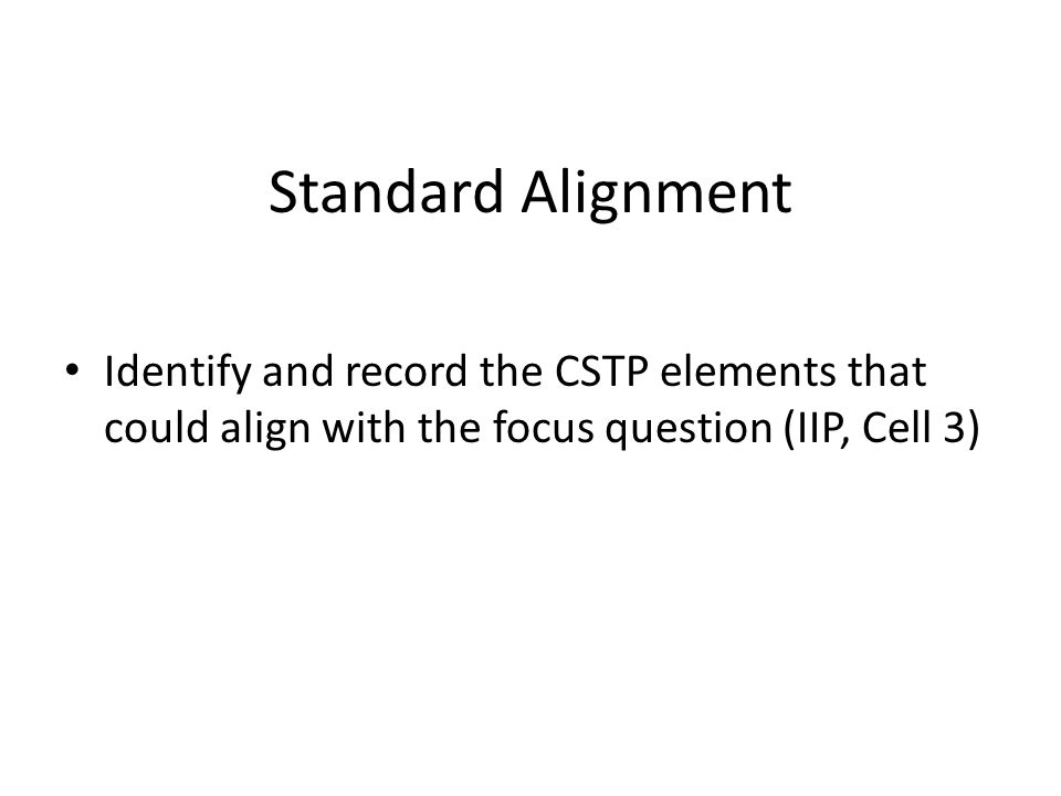 Standard Alignment Identify and record the CSTP elements that could align with the focus question (IIP, Cell 3)