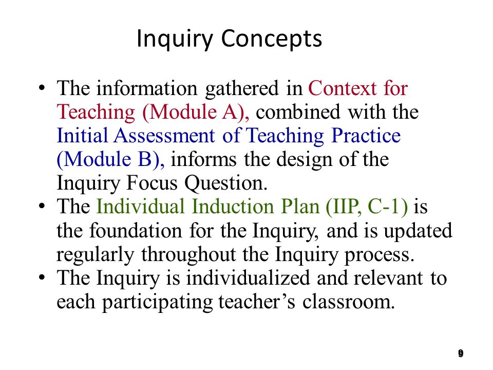 9 9 Inquiry Concepts The information gathered in Context for Teaching (Module A), combined with the Initial Assessment of Teaching Practice (Module B), informs the design of the Inquiry Focus Question.